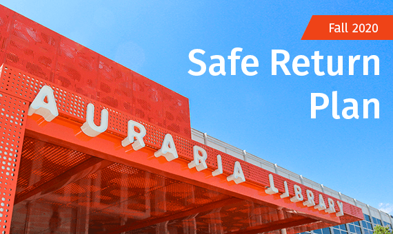 Promotional image for homepage headline: Auraria Library Safe Return Plan