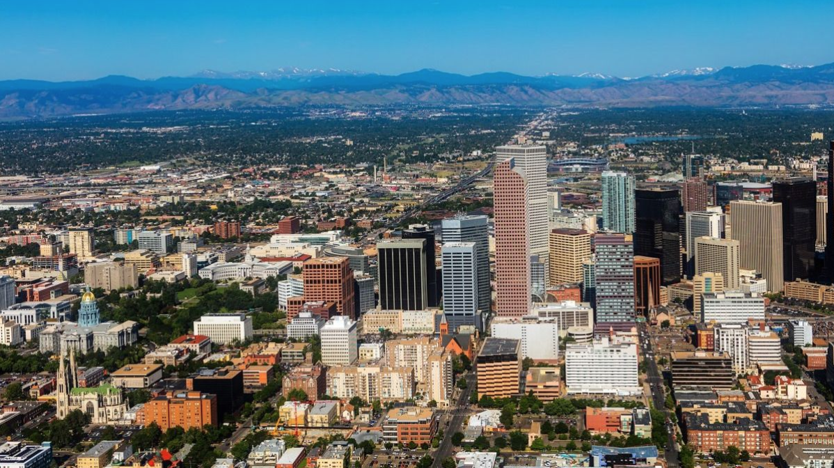 Aerial photo of downtown Denver
