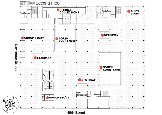Full size Second Floor Map of the Library