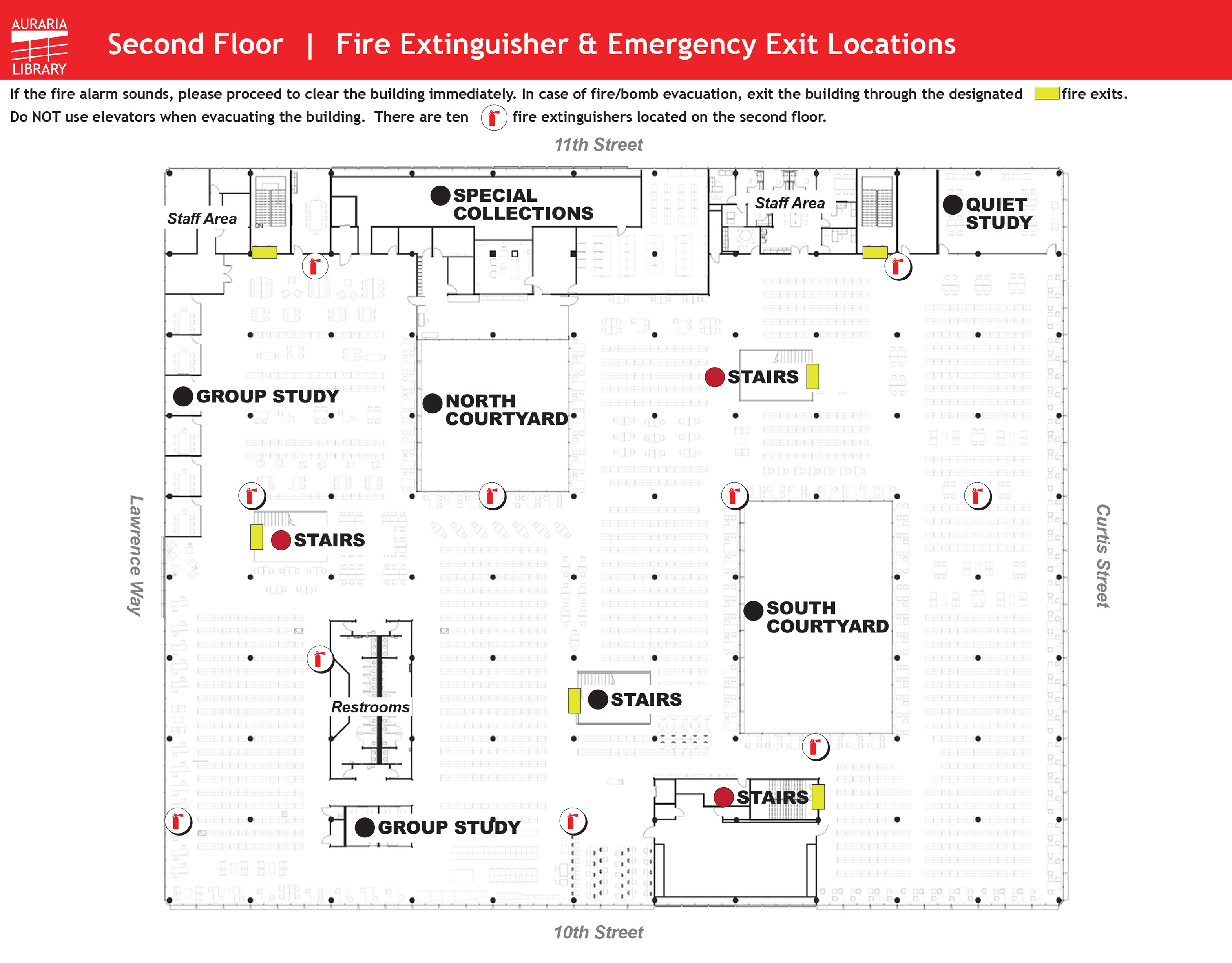 Second Floor Fire Extinguisher and Emergency Exit Maps