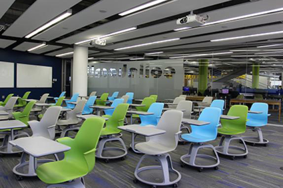 New Collaborative Classroom equipped with contemporary design desks on wheels to promote collaborative learning