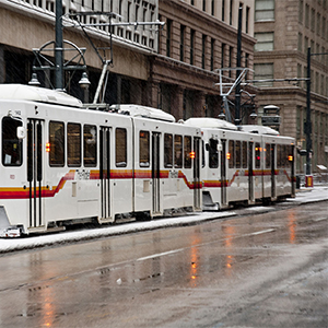 RTD light rail train on Stout St in Downtown Denver