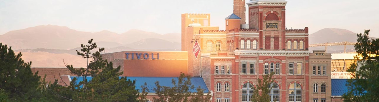 View of the mountains and Tivoli Student Union at the heart of Auraria Campus
