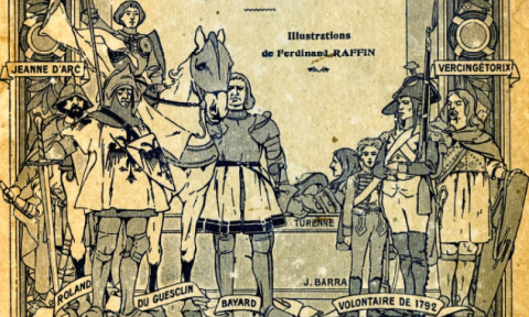 Hand drawn sketch of iconic French characters on the cover of - Histoire de France: par l'Image et l'Observation directe