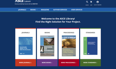 Screenshot of the ASCE Library interface