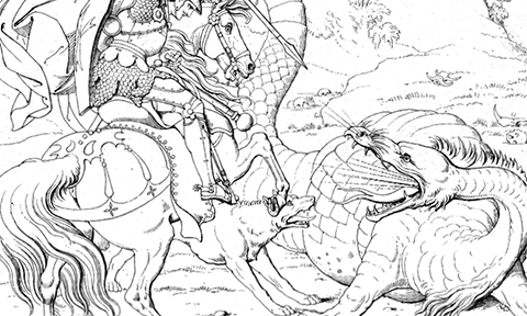 Outlined image of dragon fighting medieval knight on horseback.