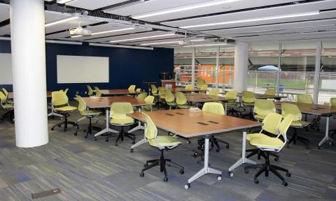 Photograph of the ELC classroom with new desks and chairs, the final touches prior to its opening.