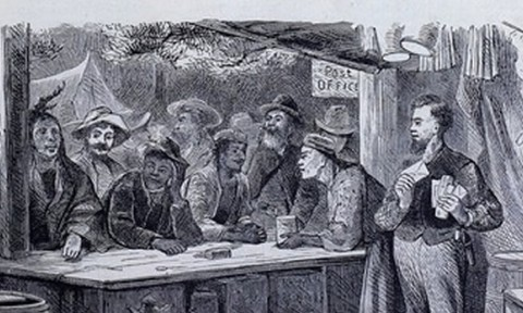 An engraving of Americans and Indians at a post office in the 1800s