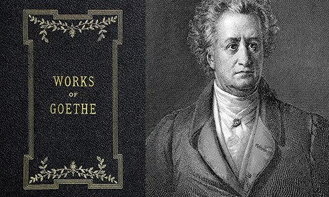 Book cover and black & white portrait of Johann Wolfgang Von Goethe