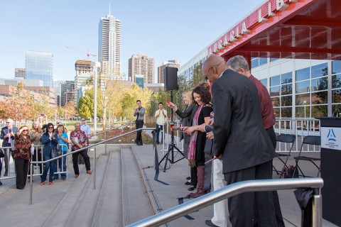 Auraria Library ribbon cutting ceremony at the front entrance