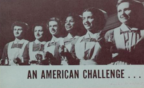 Photo of female nurses, mid-20th century, four Caucasian and one black, captioned An American Challenge