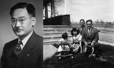 Left: Black and white portrait photo of Minoru Yasui. Right: Black and white photo of Yasui and his family in front of their Denver home.