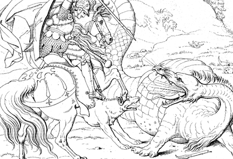 Outlined Image Of Dragon Fighting Medieval Knight On Horseback Hopping Onto The Coloring Book